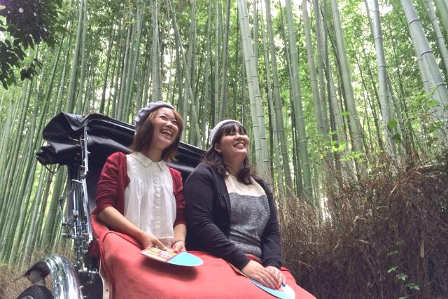 【京都・嵐山・人力車・60分貸切】京の風情を人力車からの景色で。山寺拝観つきの60分コース