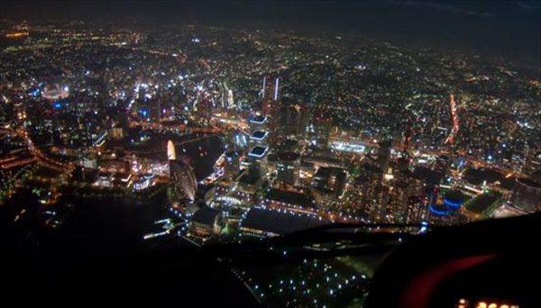 【GOLD 10分】 日没後フライト。夜景きらめく横浜の空へ