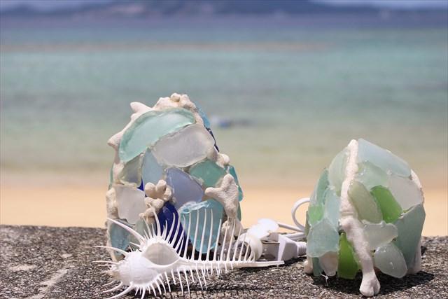 沖縄・恩納村・シーグラスランプ作り(ポストカードのプレゼント付き)