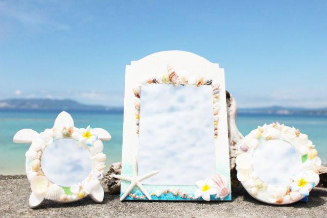 【沖縄・恩納村・マリンクラフト】沖縄を部屋に飾ろう!シェルミラー作り体験