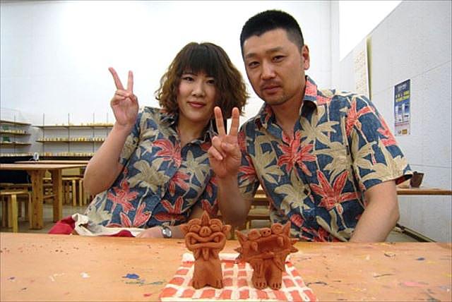 【沖縄・1時間半・陶器シーサー作り】琉球土を使って焼き締める陶器シーサー作り