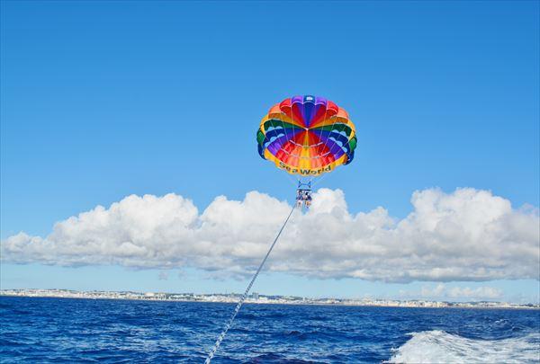 【本部発・パラセーリング&体験ダイビング】空と海を散歩しよう!ジンベイプラン