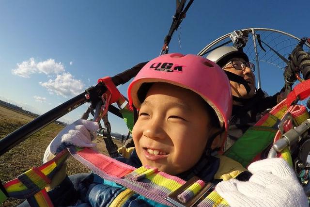【栃木・足利市・モーターパラグライダー】お子様限定タンデム!モーターパラグライダーで大空へ!(動画データ無料プレゼント・9:30)