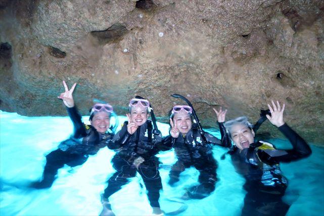 【恩納村・体験ダイビング】沖縄の海を1日で遊びつくす!青の洞窟シュノーケル&体験ダイビングセット★写真プレゼント