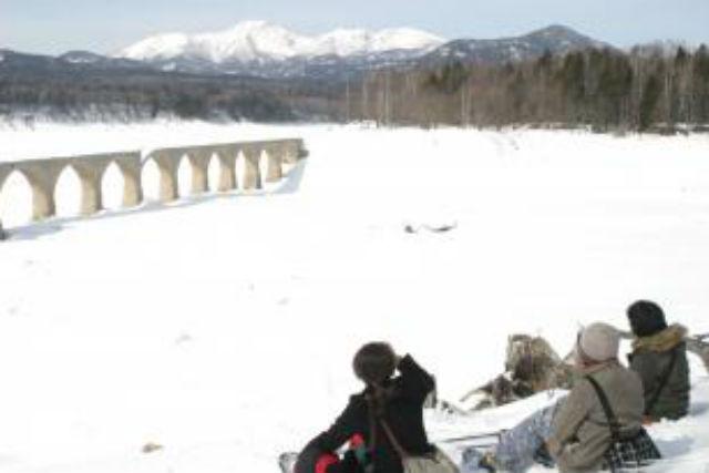 【北海道・帯広・日帰りバス】冬の糠平湖・雪上ハイキング(送迎有り・温泉入浴券付き)