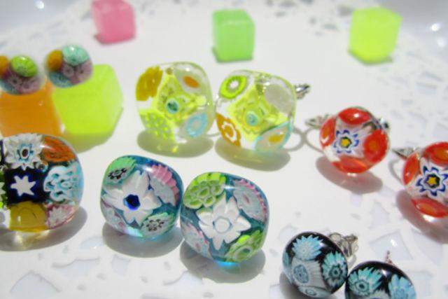 【神戸・ガラス細工】ヴェネチアンのお花ガラスを手作り!ピアスorイヤリングプラン