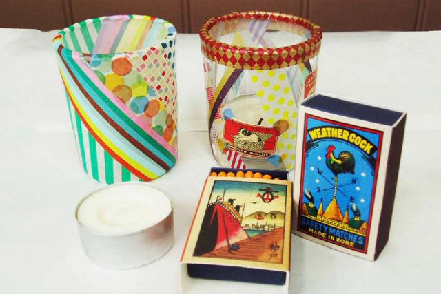 【神戸・デコキャンドルグラス作り】レトロなマッチラベルやマスキングテープで自由にデザイン