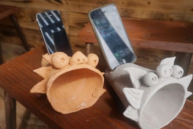 【沖縄・南城市・陶芸】かわいいスピーカーで音楽を聞こう!シーサーホーンスピーカー作り