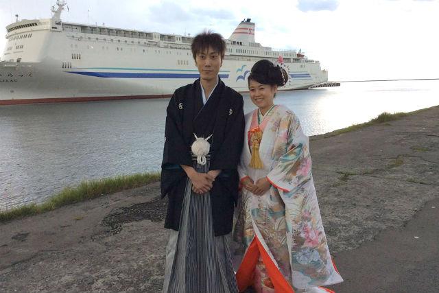 【小樽・着物レンタル】手軽なウェディング写真にも最適。花嫁花婿衣装・1時間コース