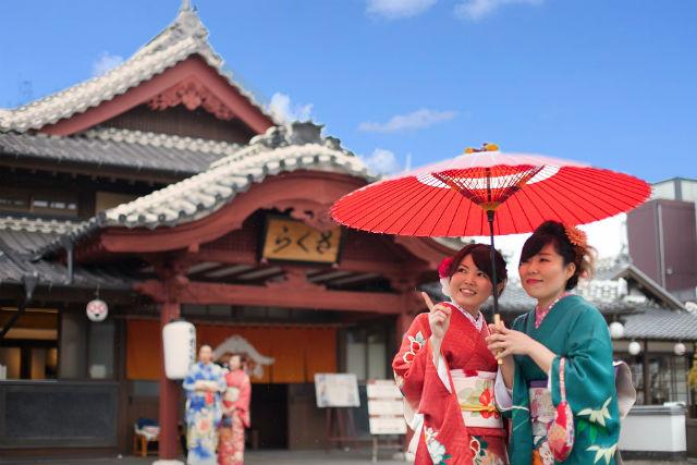 【熊本・山鹿温泉・着物レンタル】アンティーク着物で外出しよう!町並み散策プラン