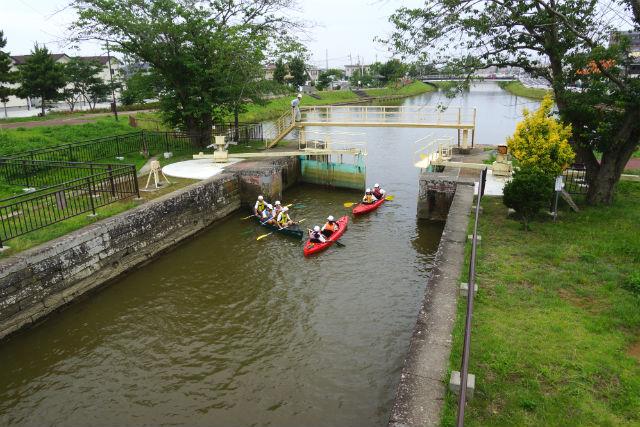 【宮城・石巻・カヌー】ビギナー向け!石井閘門を通る、北上運河カヌー体験