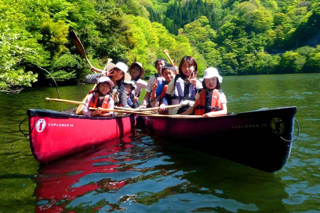 【岡山・新見市・カヌー】3歳からOK!最大4名様まで乗れるカナディアンカヌー