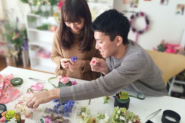 【京都・フラワーアレンジメント】はんなり可愛い♪京土産におすすめ、和のイメージで作る「花手箱」