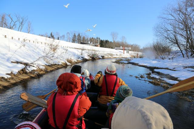 【北海道・十勝・Eボート】白銀の帯広川を進む。ウィンターリバークルージング