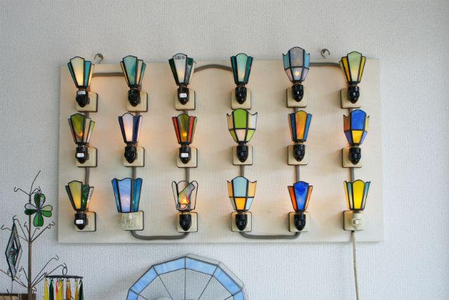 【愛媛・松山・ガラス細工】美しく輝くステンドグラスを制作(お休みランプorミニミラー)