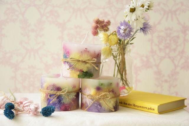 【埼玉・志木・キャンドル作り】好きなお花をたっぷり使って。ボタニカルキャンドル作り