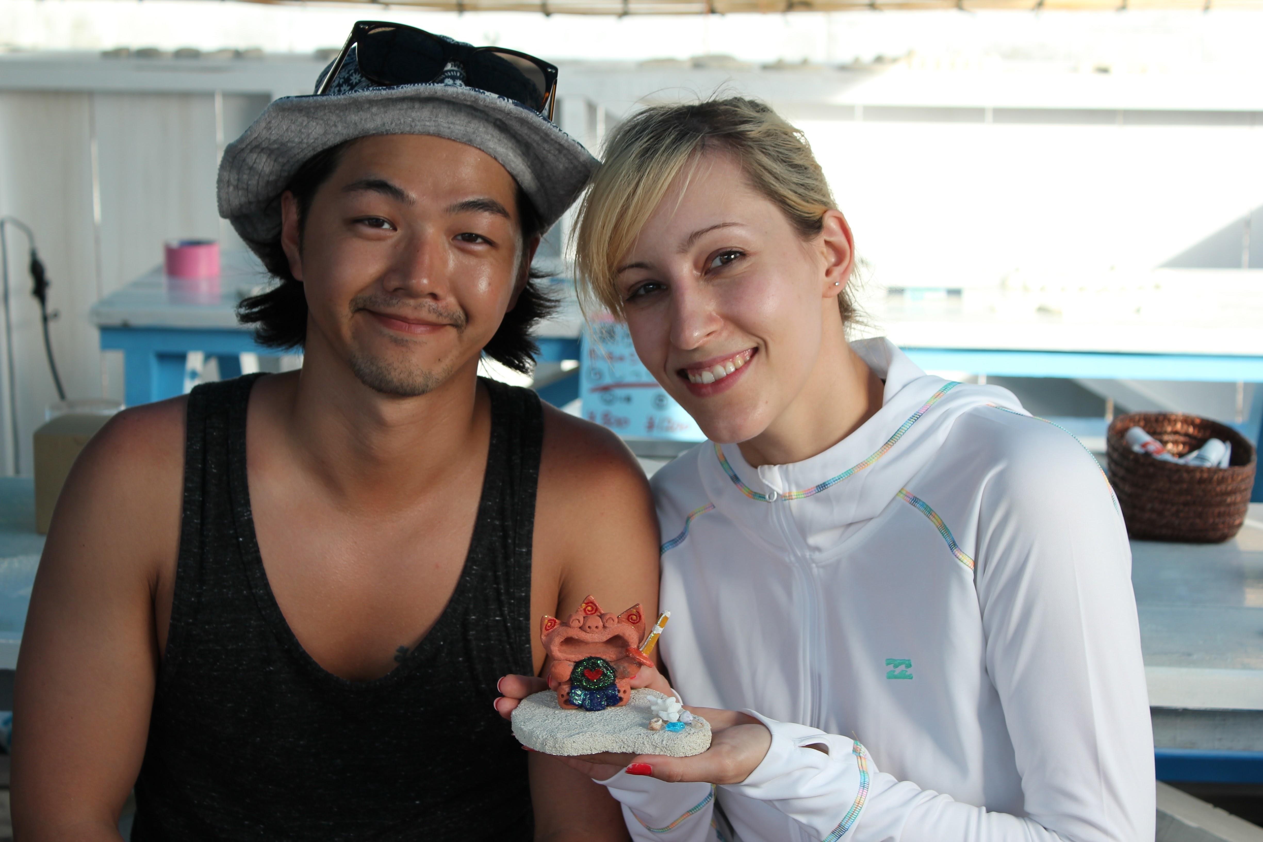【沖縄・瀬底島・シーサー作り】シーサーを成形&色をつけよう!フルオリジナルコース(90分)