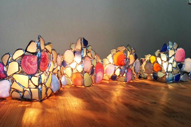【兵庫・神戸・ランプシェード作り】ステンドグラス風デザイン!マリングラスのランプシェード作り