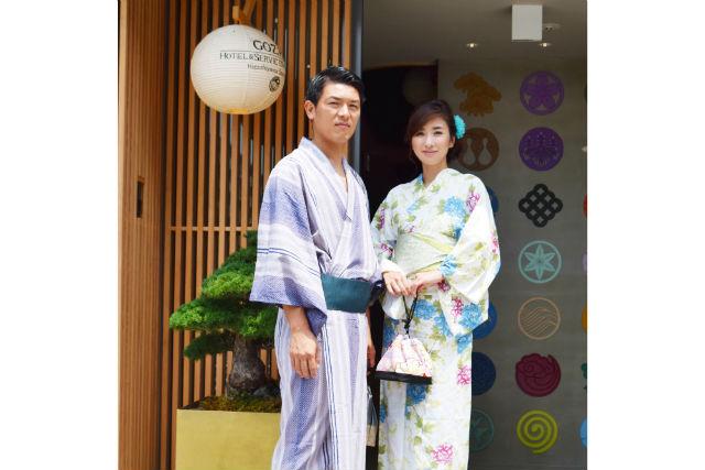 【京都市】カップル向け・浴衣レンタル(女性はヘアセット付・最大7時間レンタル)