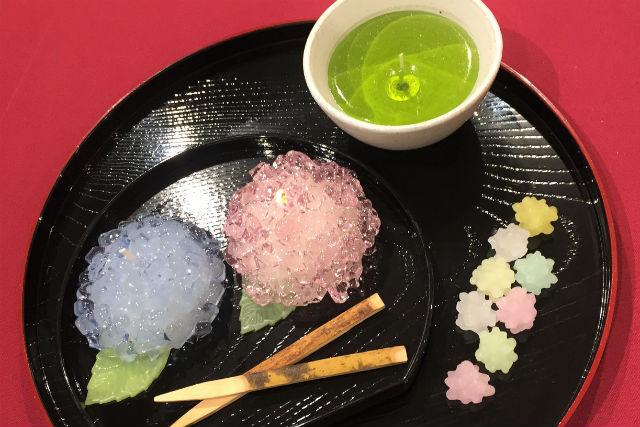 【宮城・仙台市・キャンドル作り】仙台駅から徒歩2分・和菓子のあじさいキャンドル