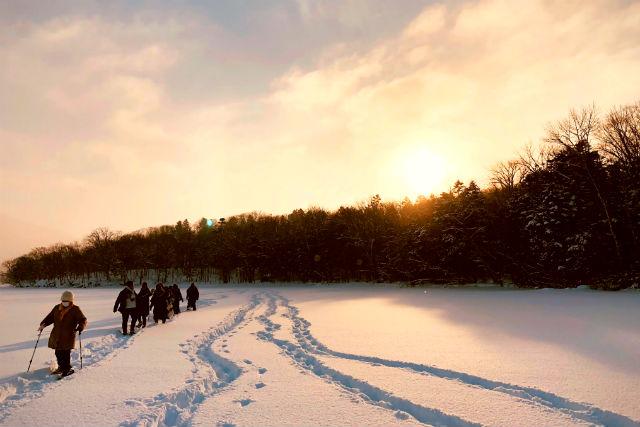 【北海道・阿寒湖・スノーシュー】全面凍結した阿寒湖の上を歩く!阿寒の森で湖上ウォーク