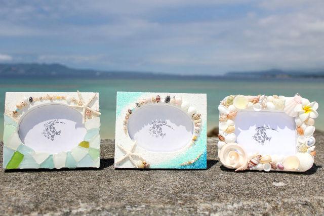 【沖縄・恩納村・マリンクラフト】沖縄の思い出を形に♪フォトフレーム作り