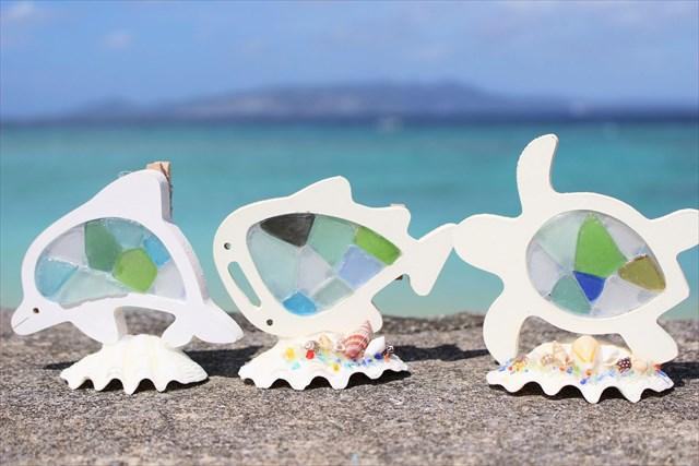 【沖縄・恩納村・マリンクラフト】海をお土産に♪シーグラスピンチスタンド作り