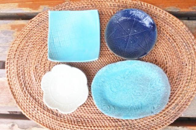 【埼玉・所沢・陶芸体験】小さくてカワイイ。青の豆皿作り(3枚)
