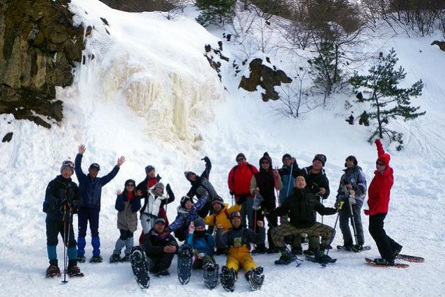 【福島・裏磐梯・スノーシュー】黄金色に光る氷の滝!イエローフォールプラン