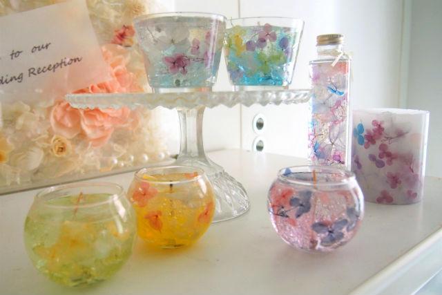 【東京・品川・手作りキャンドル】花と宝石。あじさいジェルキャンドル作り(2個)