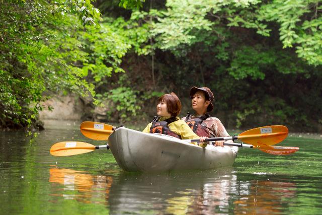 【熊本・菊池市・タンデムカヤック】秘密の滝や、野鳥に感動!班蛇口湖を探索しよう(写真撮影付き)