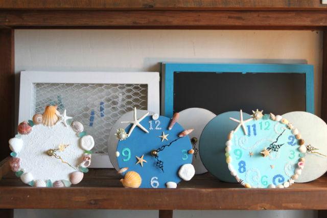 【徳島・マリンクラフト】海で彩るシェル時計!貝殻・シーグラスで思い思いにデザインしよう