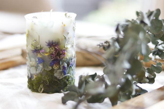 【神奈川・川崎市・キャンドル作り】アロマの香りと、お花に癒やされる。ボタニカルキャンドル