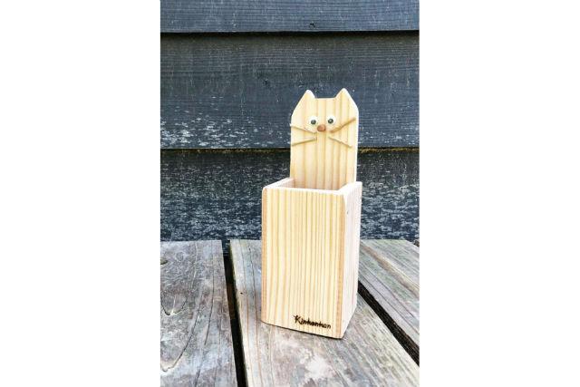 【大阪・河内長野市・木工体験・ペン立て】猫の顔がついたユニークな作品!ネコペン立て作り