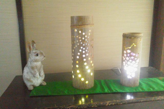 【鳥取・竹細工】温泉入浴付き!竹とうろう作り(デコ・和紙)