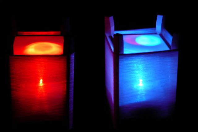 【徳島・美馬・手作りランプシェード】繭玉を紡いで作る七色ランプシェード