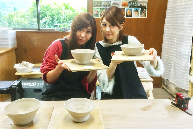 【群馬・陶芸・電動ろくろ・2個】世界に1つだけの逸品!ふくろう陶房でろくろを使って本格的な湯呑みやご飯茶碗を作ろう!