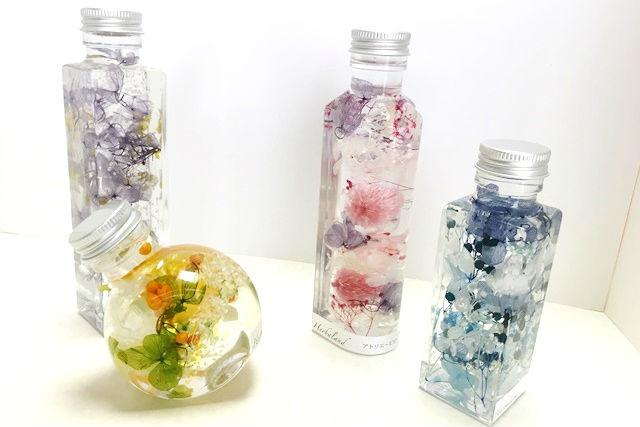 【岡山・倉敷・ハーバリウム】色とりどりの花材を使う、ハーバリウム作り(2本)