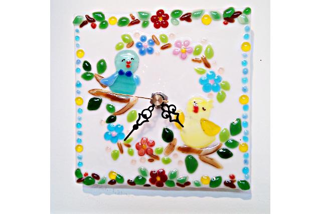 【鳥取・ガラス細工】絵を描くようにガラスでデザイン♪オリジナル時計(1個)