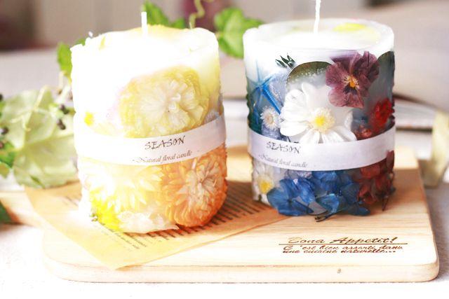 【岡山・倉敷・手作りキャンドル】お花が浮き上がった華やかなボタニカルキャンドル