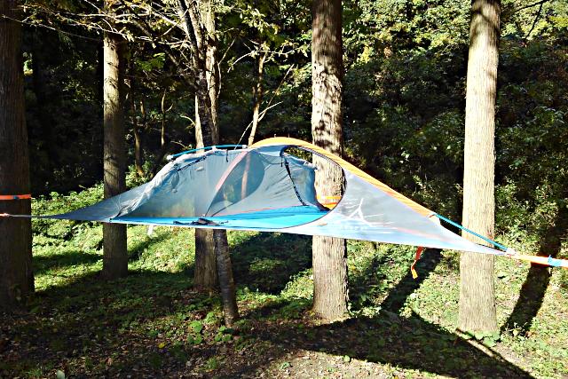 【鳥取県・鳥取市・キャンプ場】雲の上で寝ている感覚のツリーテント!空中テント体験