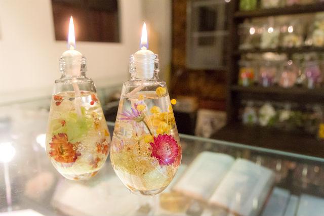 【岐阜市・手作りキャンドル】優しい灯火。ハーバリウムとしても楽しめるオイルキャンドル作り