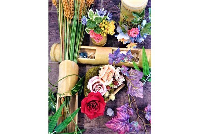 【埼玉・武蔵嵐山駅徒歩7分・フラワーアレンジメント】竹花器のアーティフィシャルフラワーアレンジ