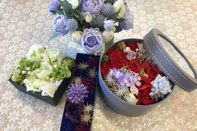 【埼玉・武蔵嵐山駅徒歩7分・フラワーアレンジメント】枯れない高級造花アーティフィシャルフラワーでフラワーボックス作り