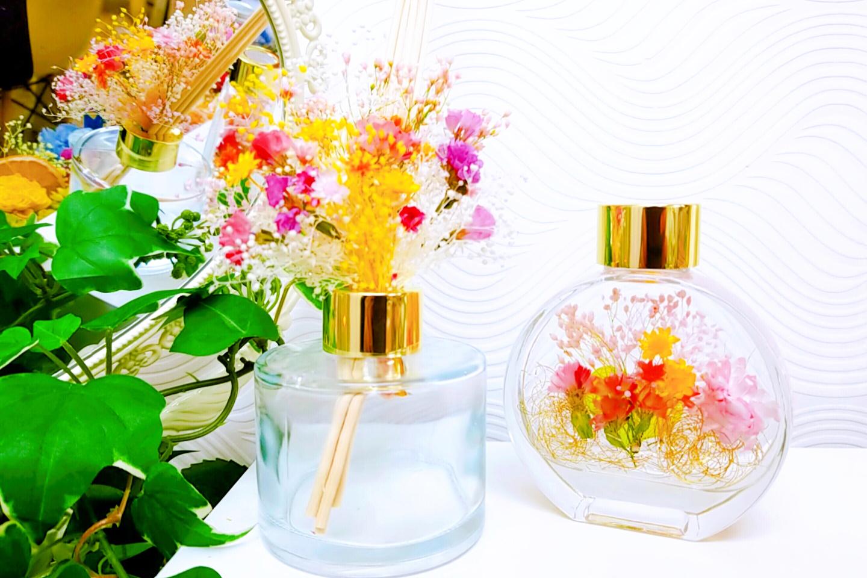 【東京・巣鴨・アロマオイル】美しい花束と香りに癒される。アロマディフューザー作り(1個)
