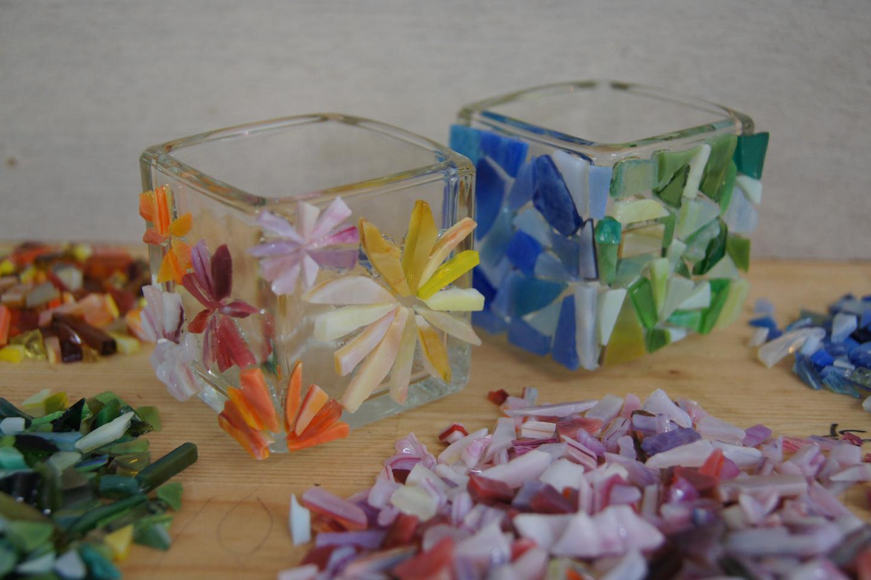 【岡山・真庭・ガラス細工】ガラスを選んで好きな模様に!モザイクガラス制作(1個)