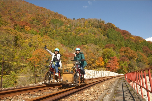 【2.5%還元】【岐阜・飛騨・レールバイク】渓谷沿いの自然の中でスリルと絶景を満喫!渓谷コース【2名から予約可能】