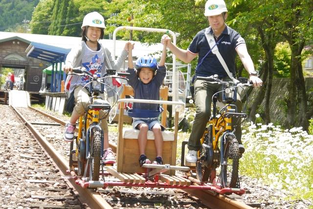 【2.5%還元】【岐阜・飛騨・レールバイク】飛騨神岡の町を眺めながらのんびり走る!まちなか3人乗りコース!【2名から予約可能】